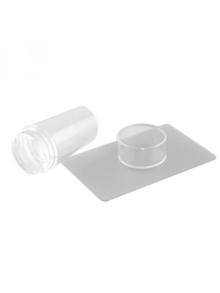 Aeropuffing, набор для стемпинга двусторонний штамп (прозрачный) + скрапер