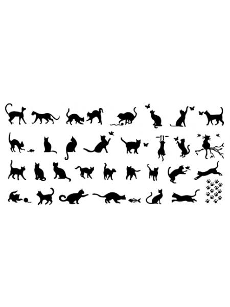 Aeropuffing, пластина для стемпинга Stamping Plate, A-08 (кошки)