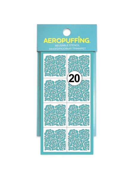 Aeropuffing Stencil №20 - многоразовый трафарет (Розочки)